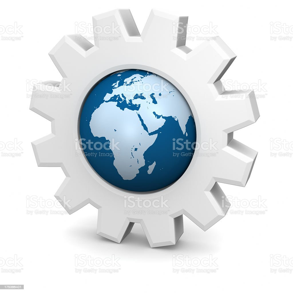 Gears Globe with Europe,Africa,Asia stock photo