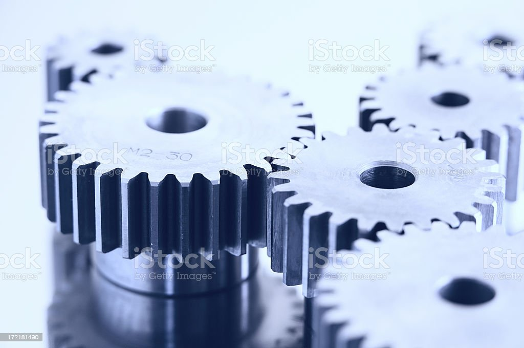 Gears in blue royalty-free stock photo