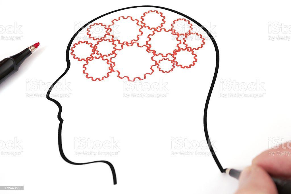 Gears in the mind profile royalty-free stock photo