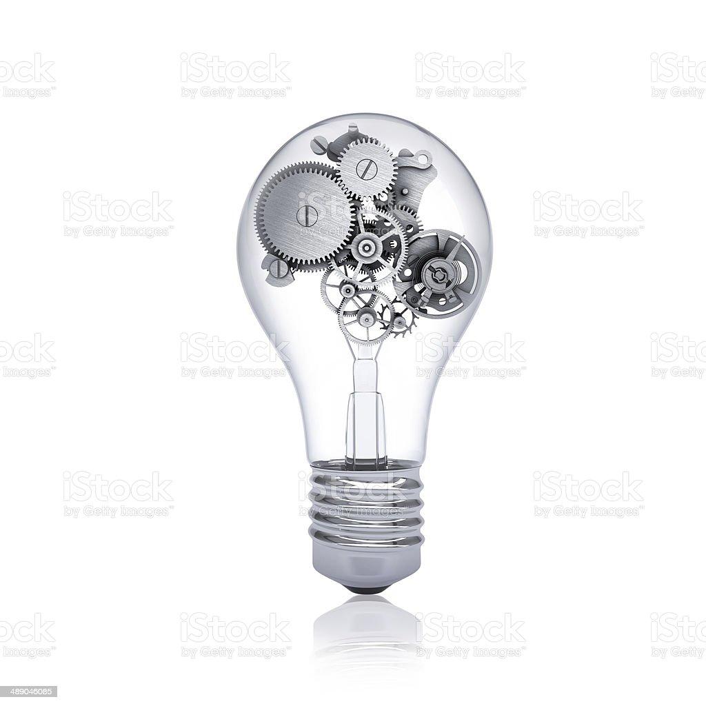 Gears inside the bulb stock photo