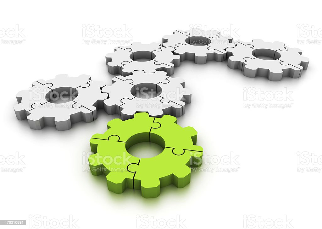 Gears made of puzzle royalty-free stock photo