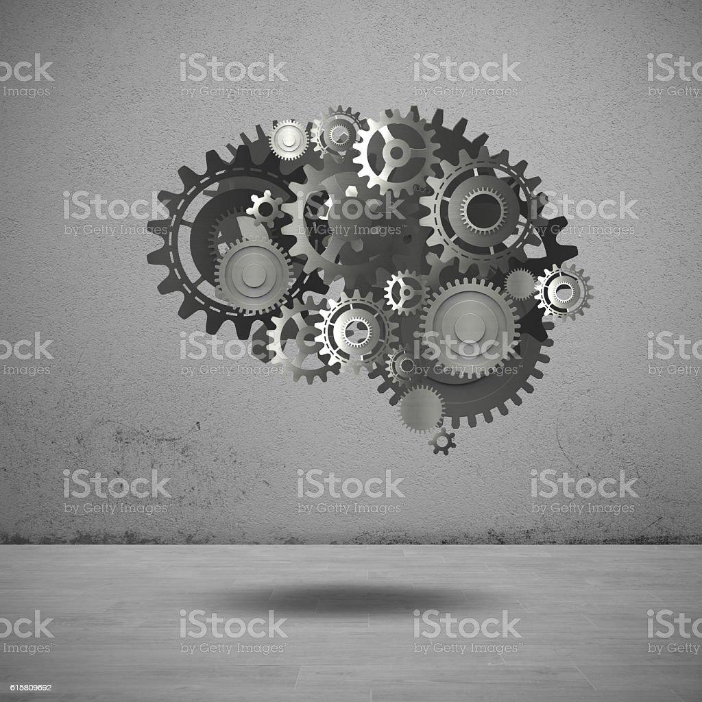 Gears mechanism brain stock photo