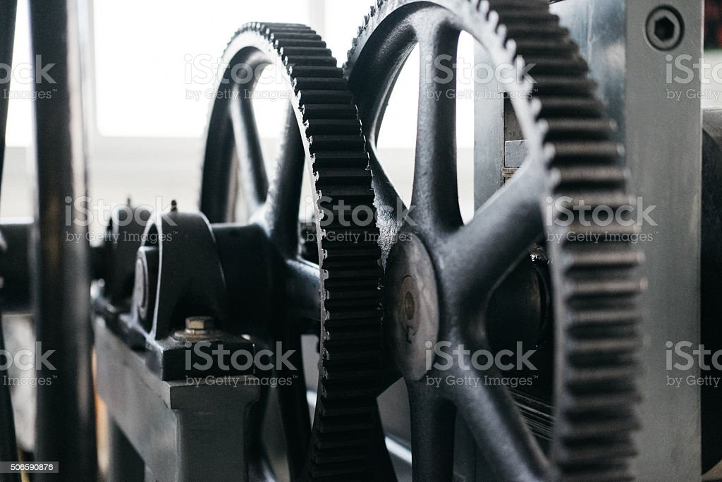 Gears of an old machine stock photo