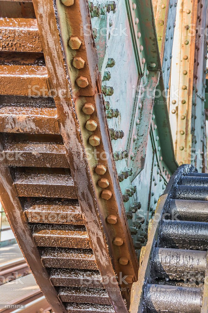Gears of the railroad bridge Friesenbrucke close to Weener stock photo