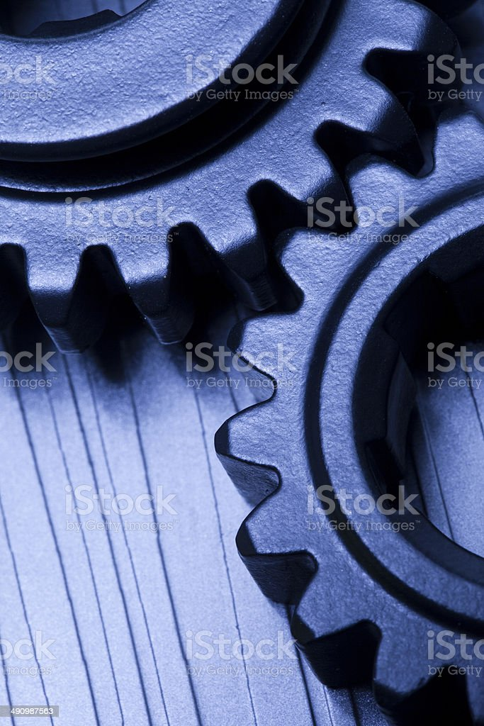 gears on blue background royalty-free stock photo