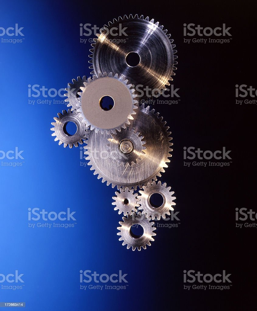 Gears on Blue royalty-free stock photo