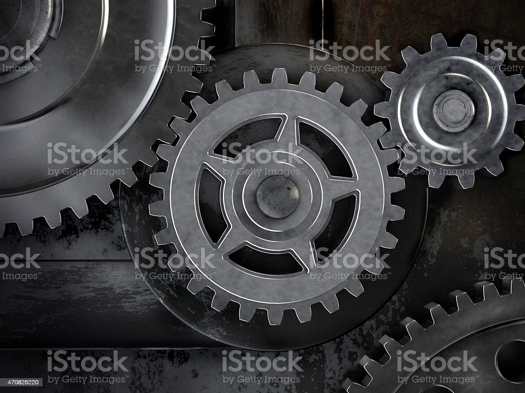 Gears on dark background stock photo