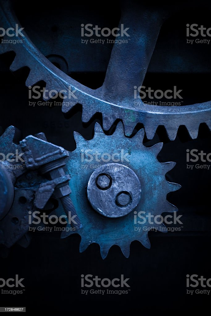 Gears on End Blue Filter royalty-free stock photo