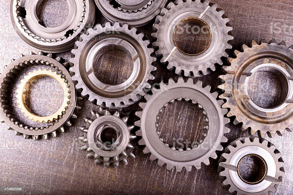 gears on metal background stock photo