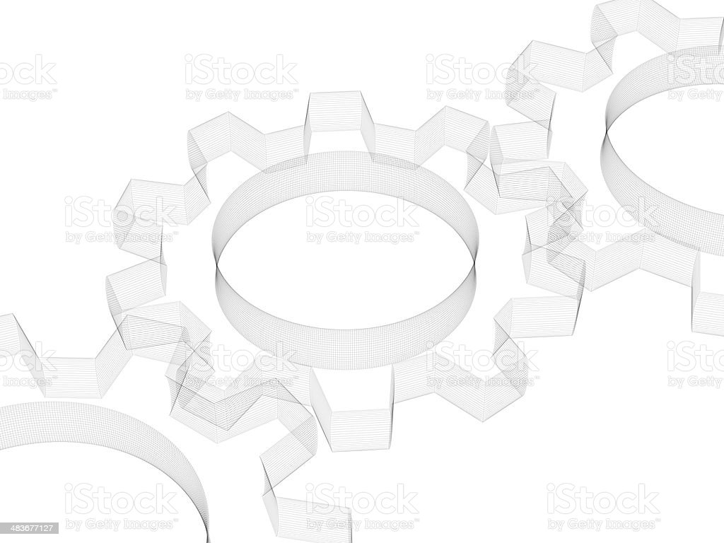 Gears Wireframe royalty-free stock photo
