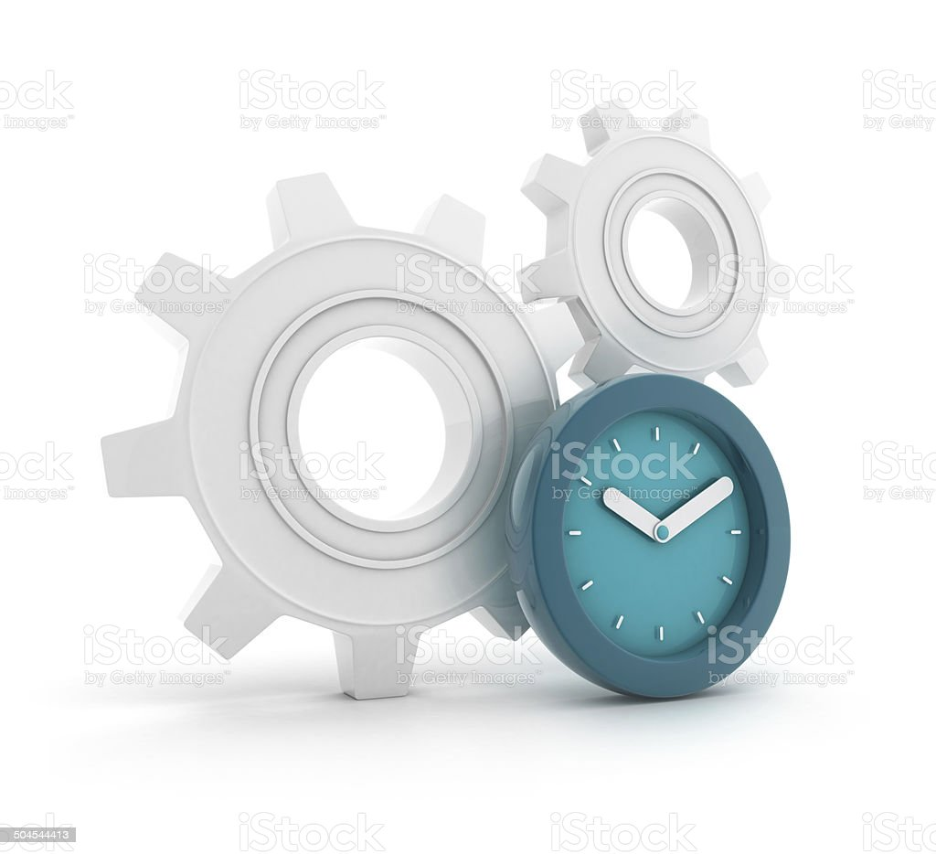 Gears with clock royalty-free stock photo