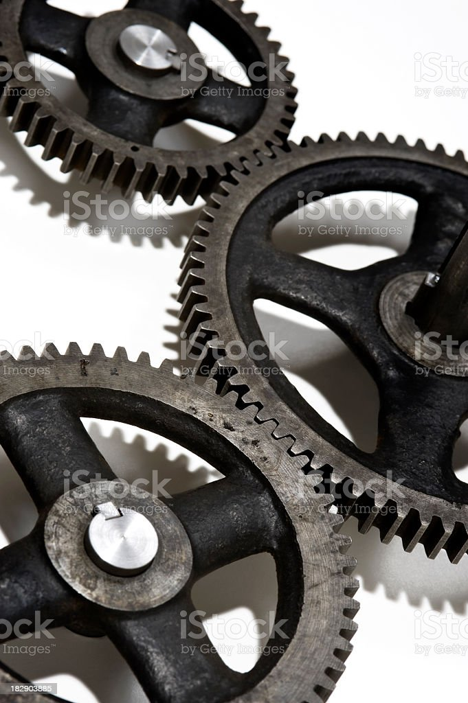 Gears working together stock photo
