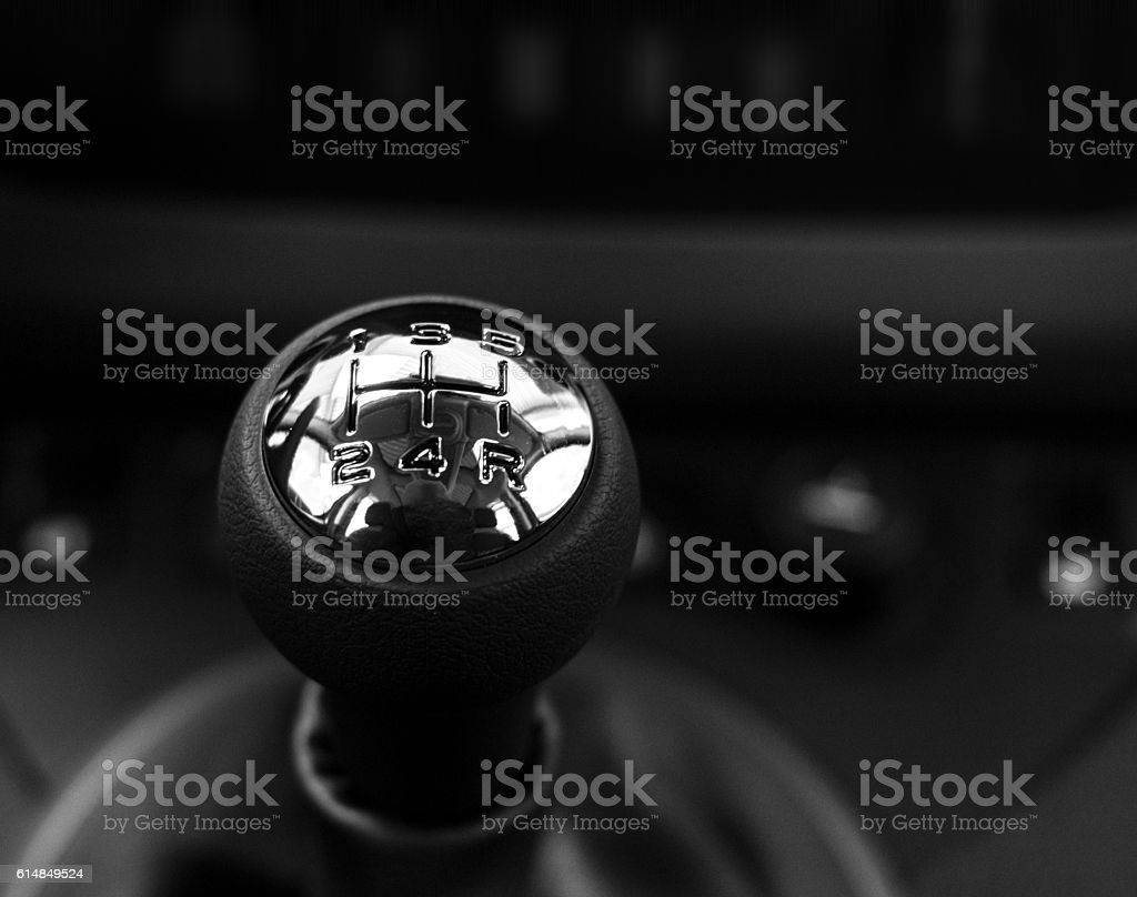 Gearshift close up black background stock photo