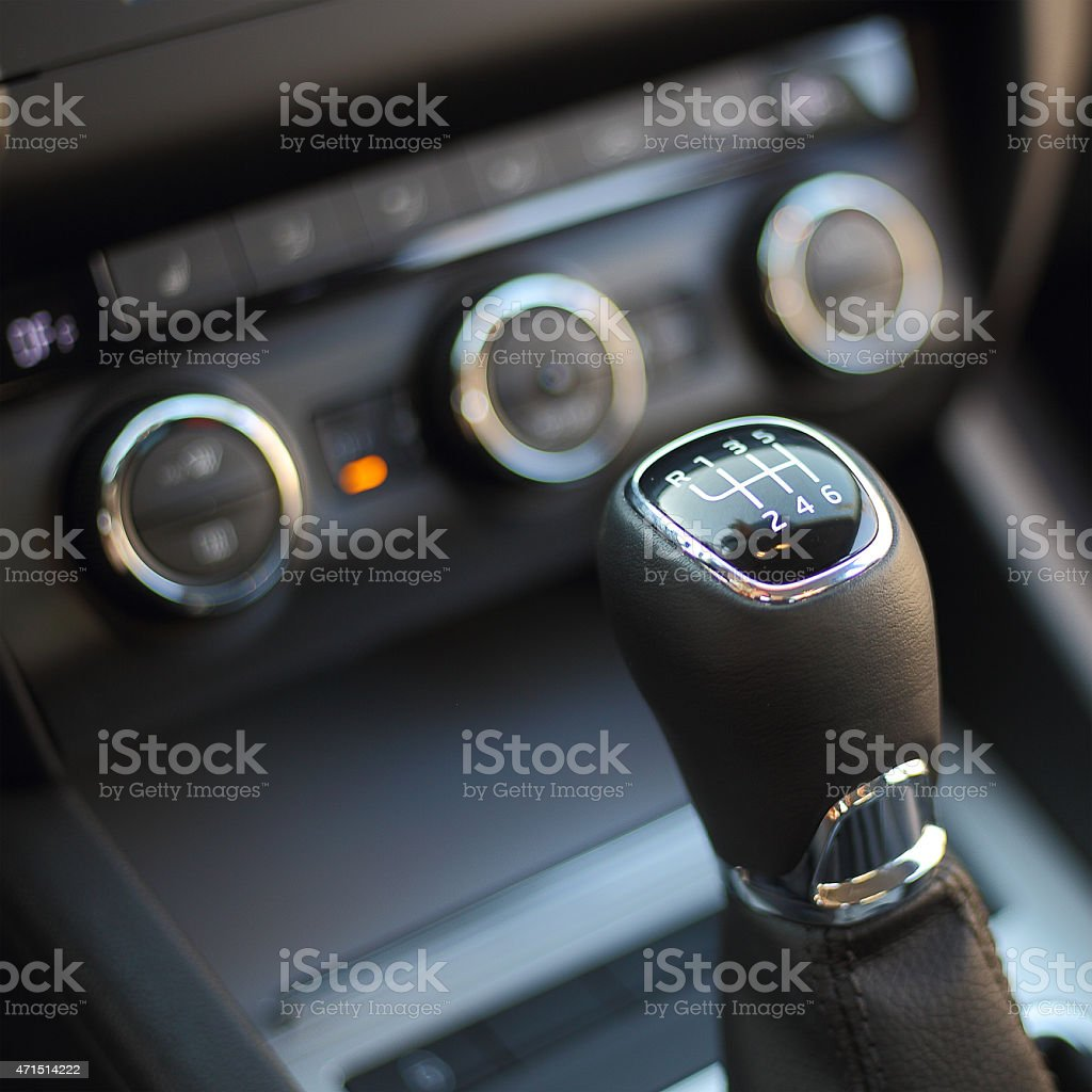 Gearshift in the car stock photo