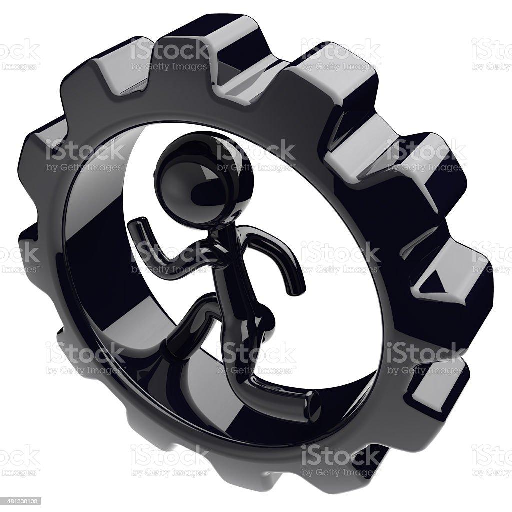Gearwheel man character inside gear wheel businessman stock photo