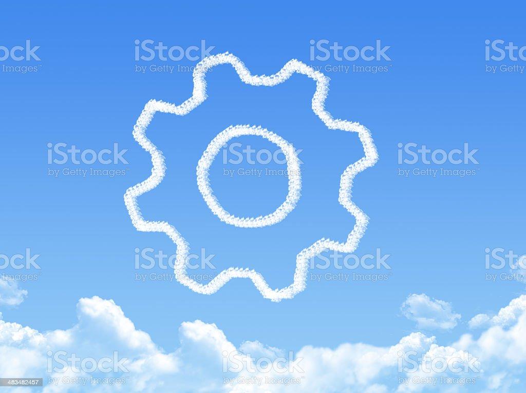 gearwheel mechanism icon cloud shape stock photo