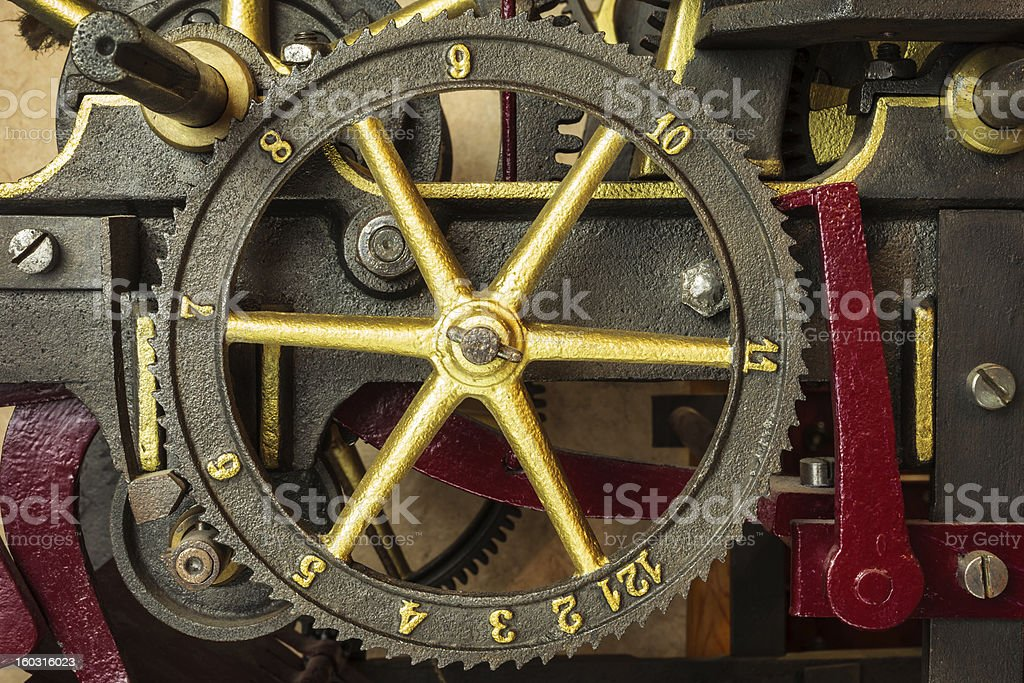 Gearwheels of a vintage church clock royalty-free stock photo