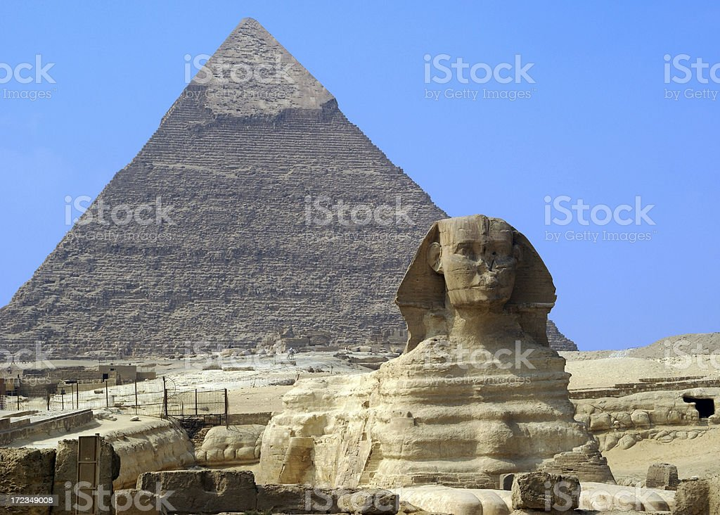 Geat Sphinx and Pyramid Giza Egypt royalty-free stock photo