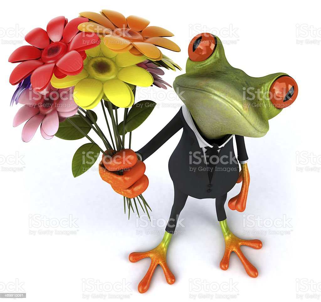 Gecko in a suit, holding out flowers  stock photo