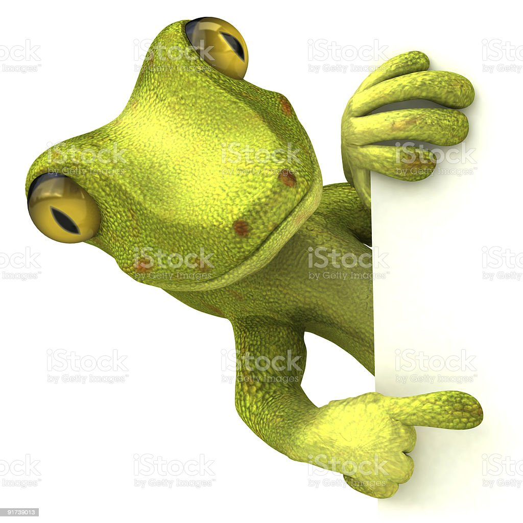 Gecko with a blank sign royalty-free stock photo