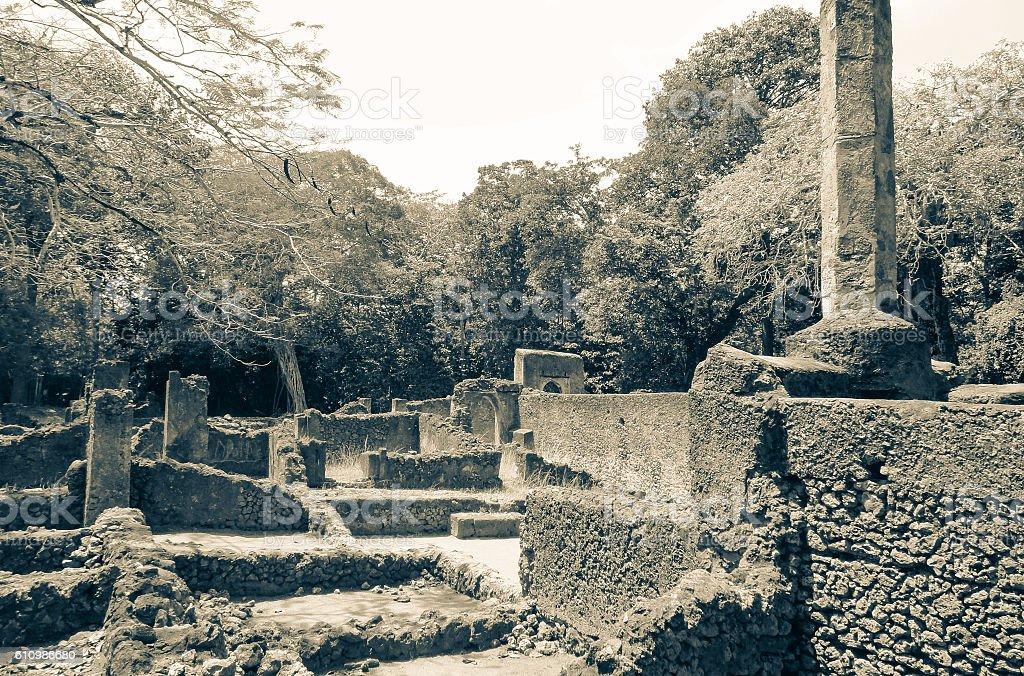 Gede (Gedi) ancient city ruins. Swahili town in Kenya stock photo