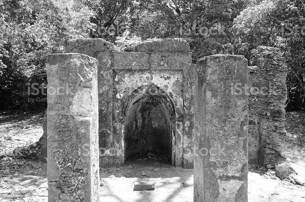 Gede (Gedi) ruins. Ancient city near Malindi. Kenya stock photo