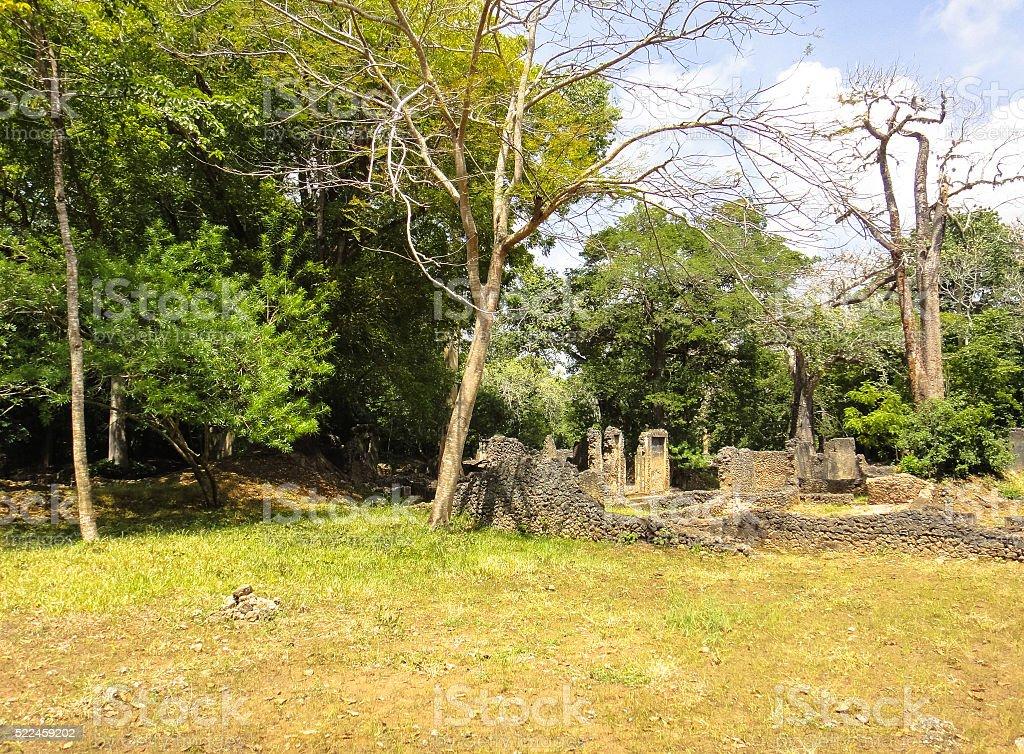 Gede ruins in Malindi stock photo