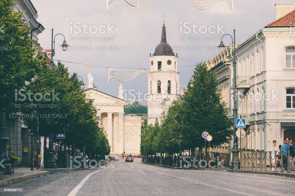 Gediminas Avenue in Vilnius. stock photo