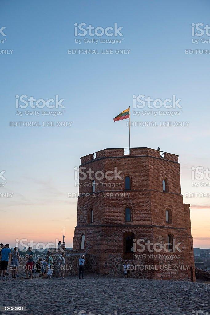 Gediminas Hill sunset - Vilnius, Lithuania stock photo