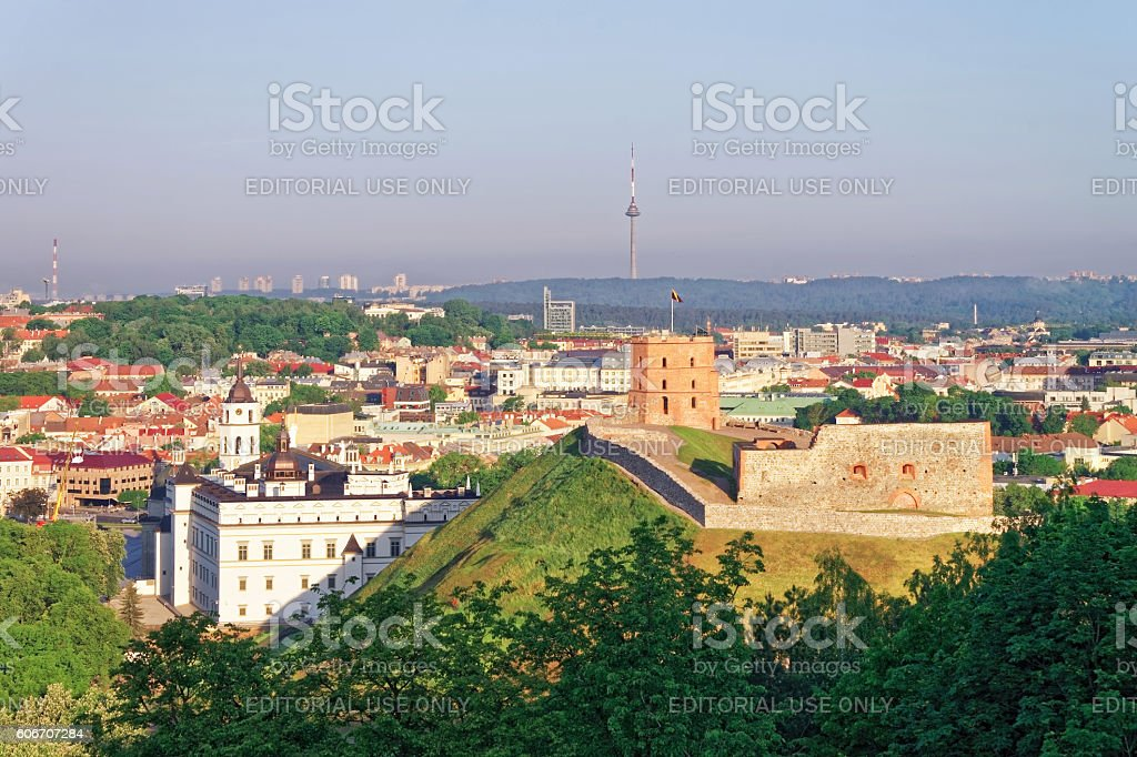 Gediminas Tower and Lower Castle in Vilnius in Lithuania stock photo