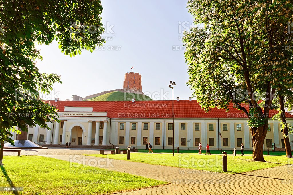 Gediminas Tower and National Museum of Lithuania of Vilnius stock photo