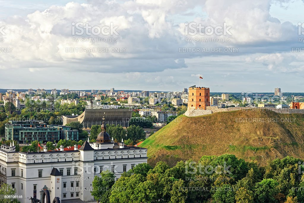 Gediminas Tower and the Lower Castle in Vilnius in Lithuania stock photo