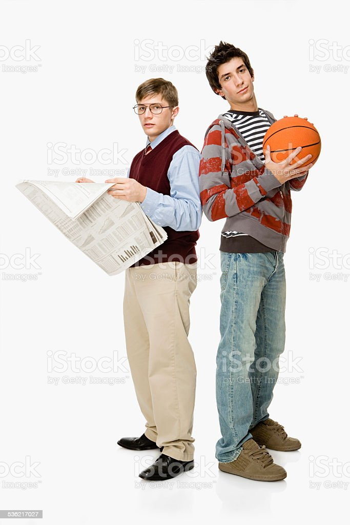 Geek and basketball player stock photo