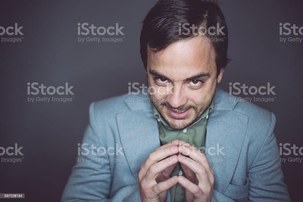 Geek man having a bad idea stock photo