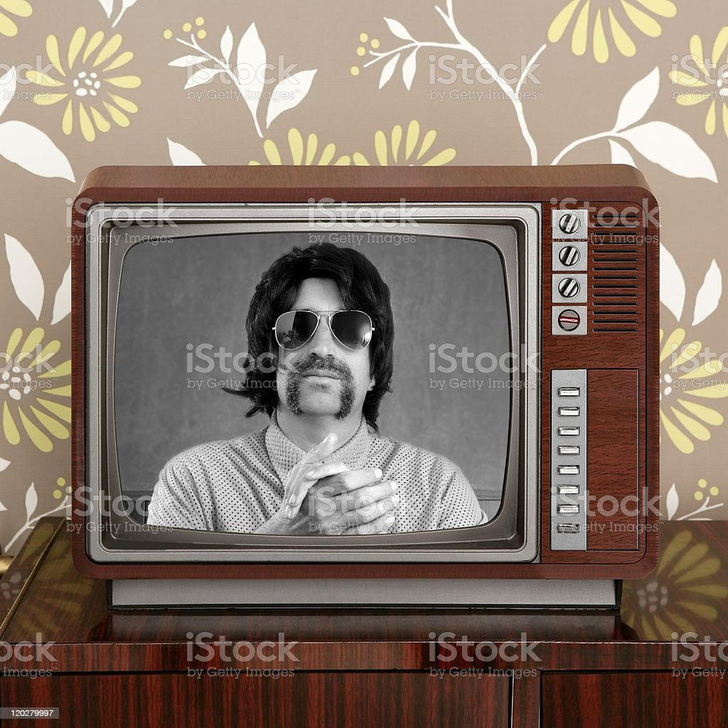 geek mustache tv presenter in retro wood television royalty-free stock photo