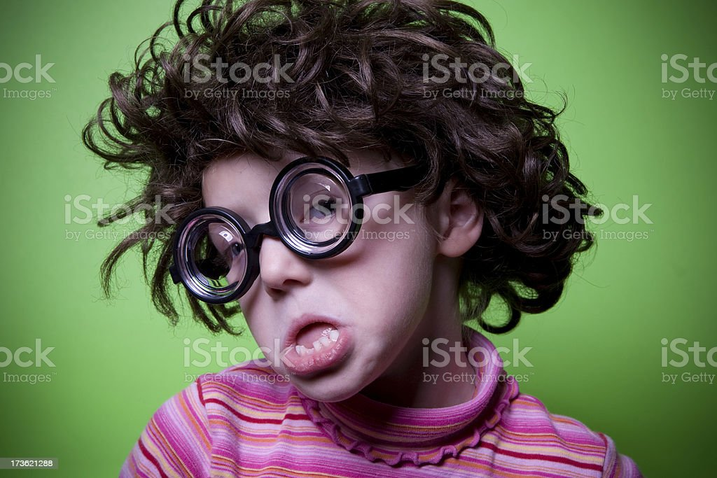 Geek on Green - Sneering royalty-free stock photo