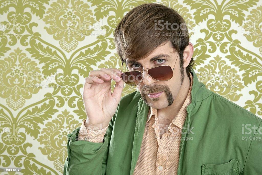 geek retro salesperson man funny mustache stock photo