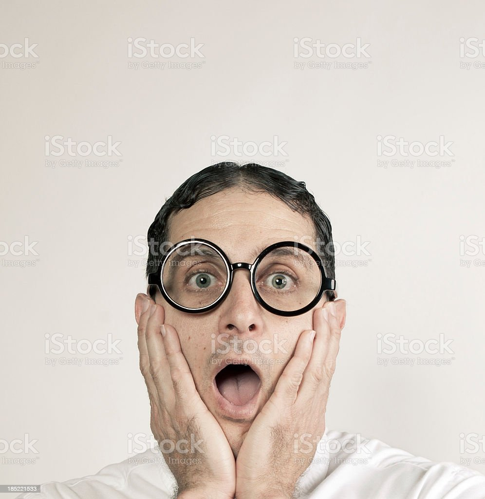 Geek surprised royalty-free stock photo
