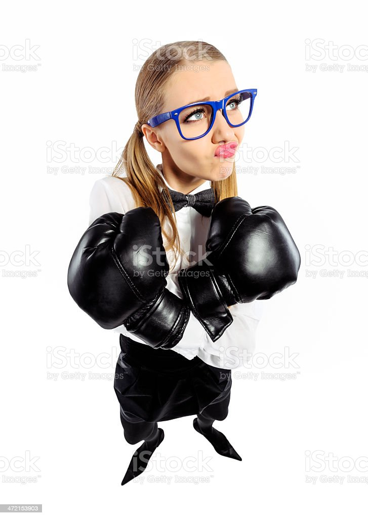 geek with boxing gloves royalty-free stock photo