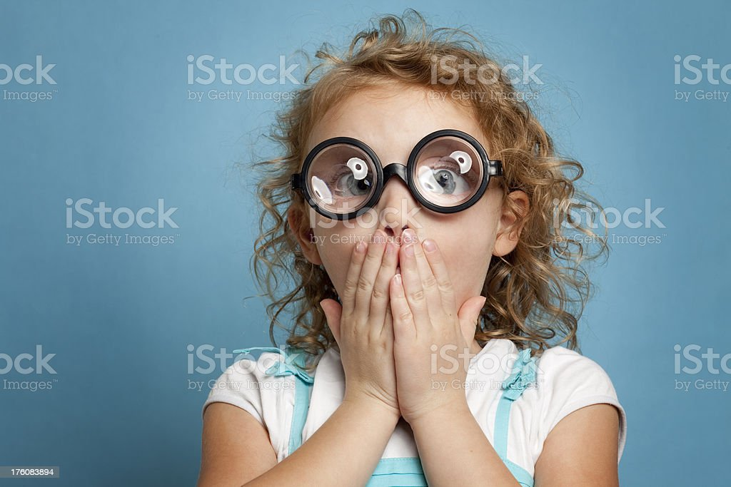 Geeky Child - Shocked Expression royalty-free stock photo