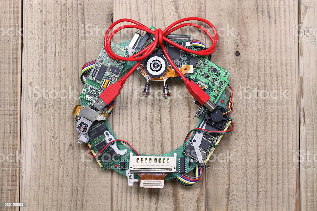 geeky christmas wreath made by old computer parts stock photo