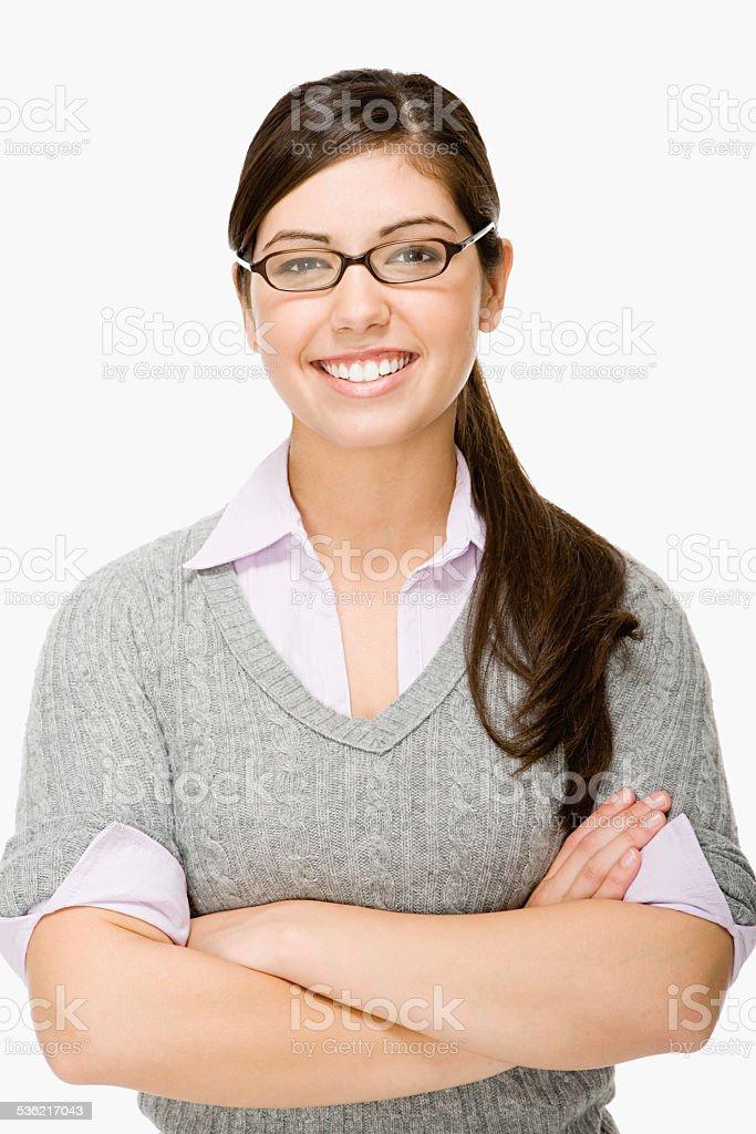 Geeky girl stock photo