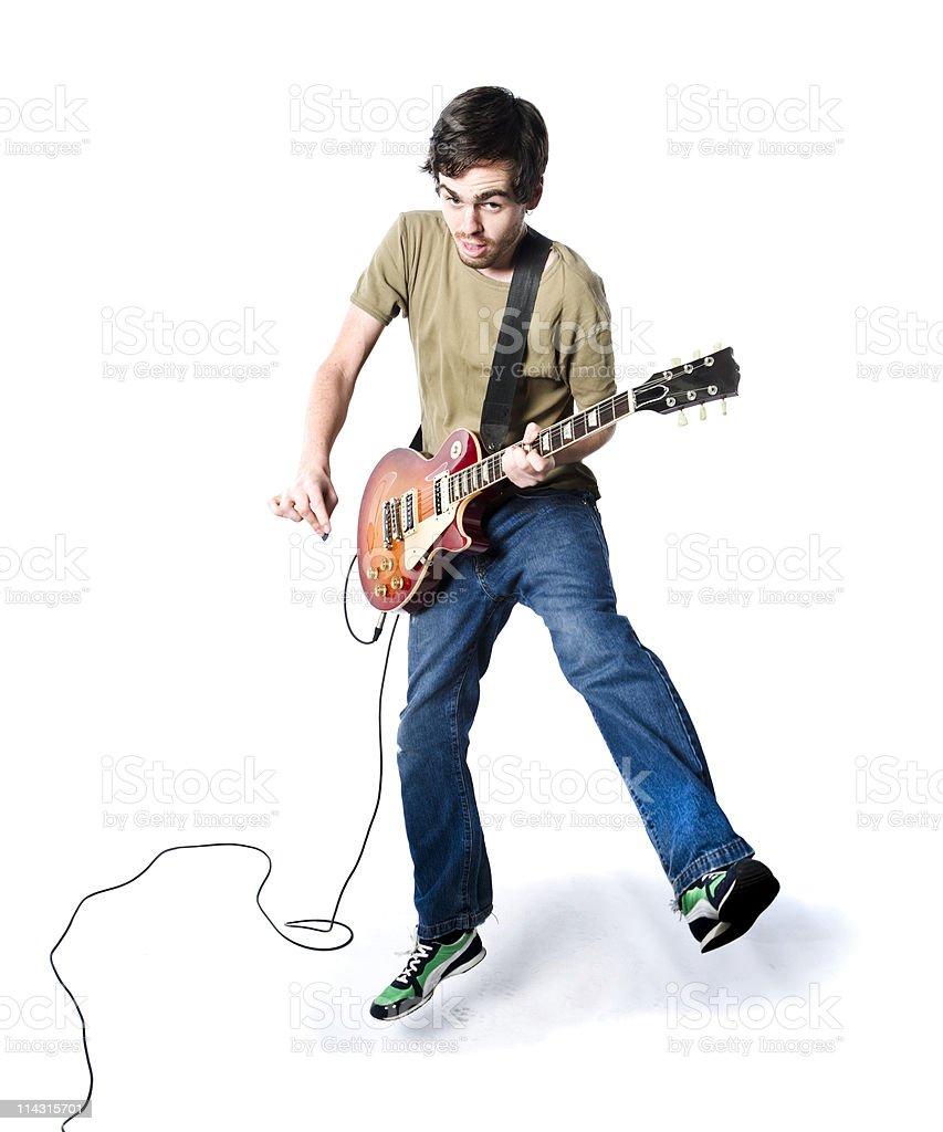 Geeky guitarist stock photo