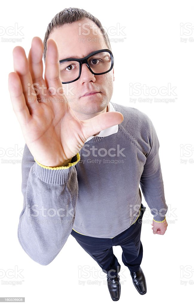 Geeky man showing her hand royalty-free stock photo
