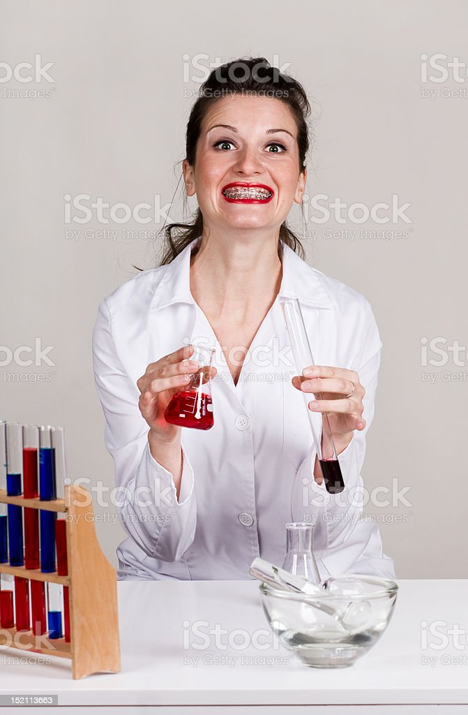 Geeky scientist stock photo