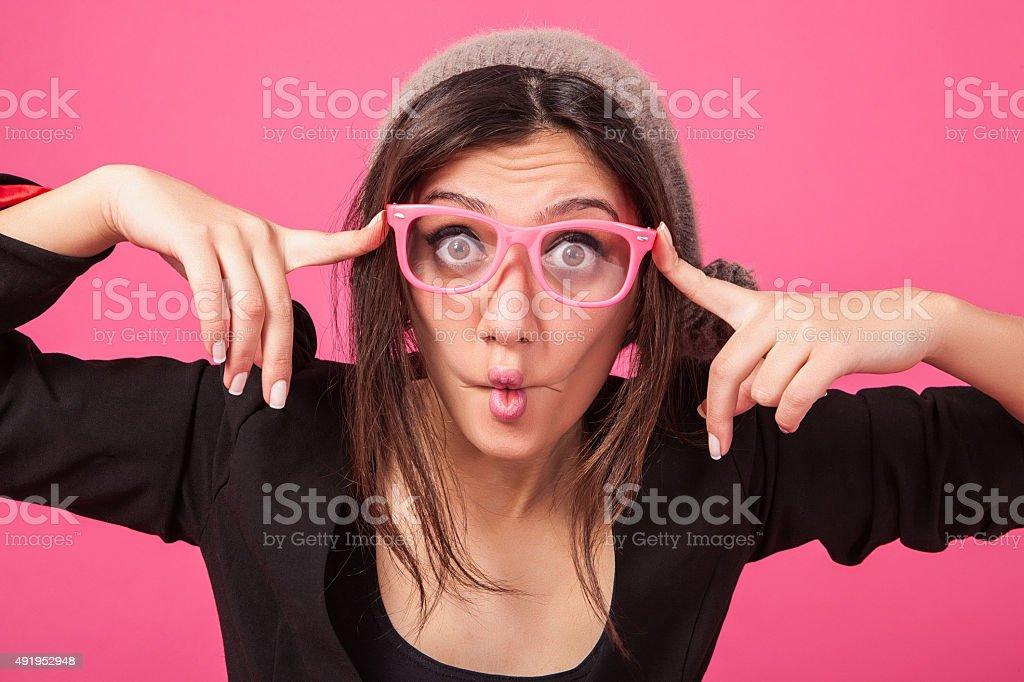 Geeky teenage stock photo