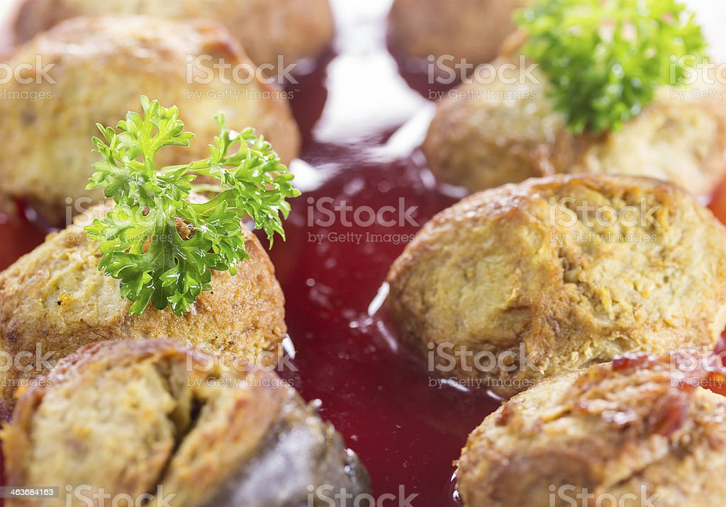 Gefilte fish on a platter royalty-free stock photo