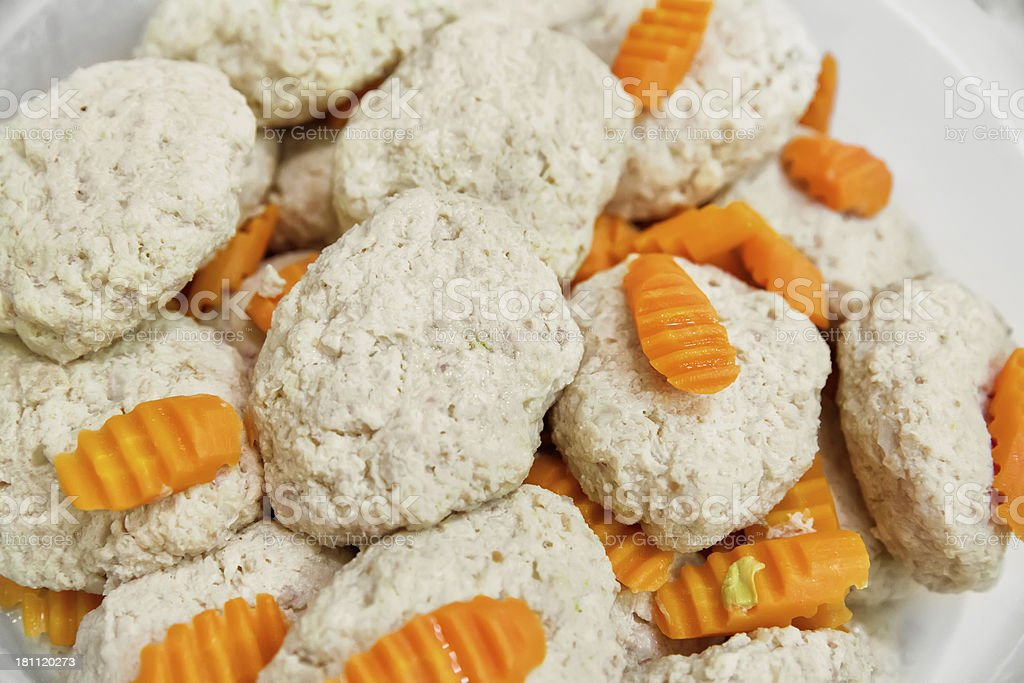 gefilte fish with carrots royalty-free stock photo