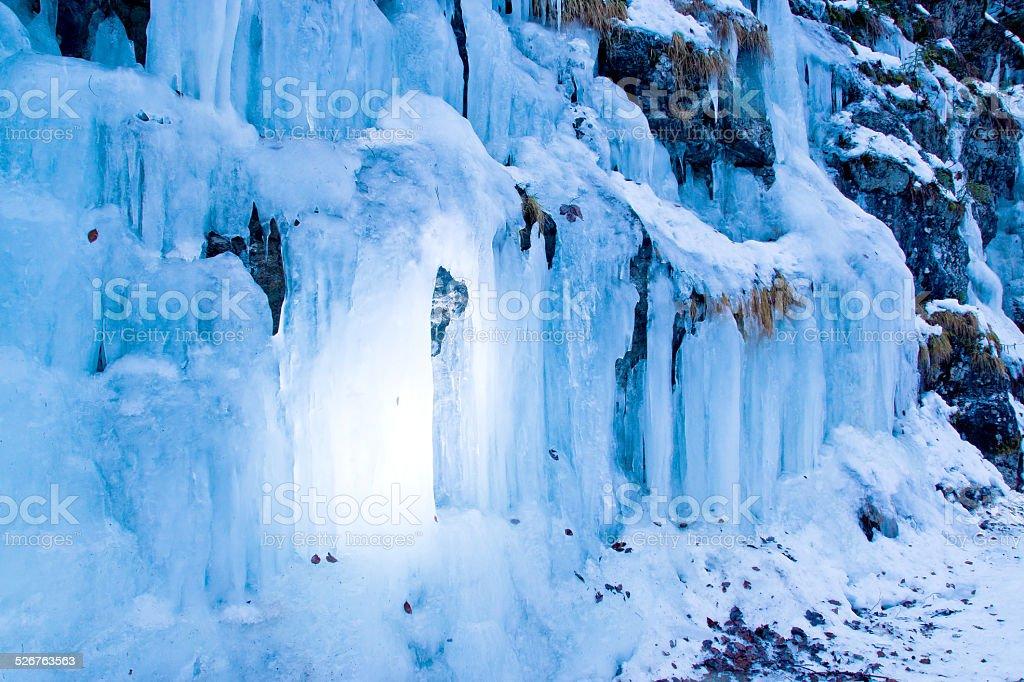 Gefrorener Wasserfall im Winter stock photo
