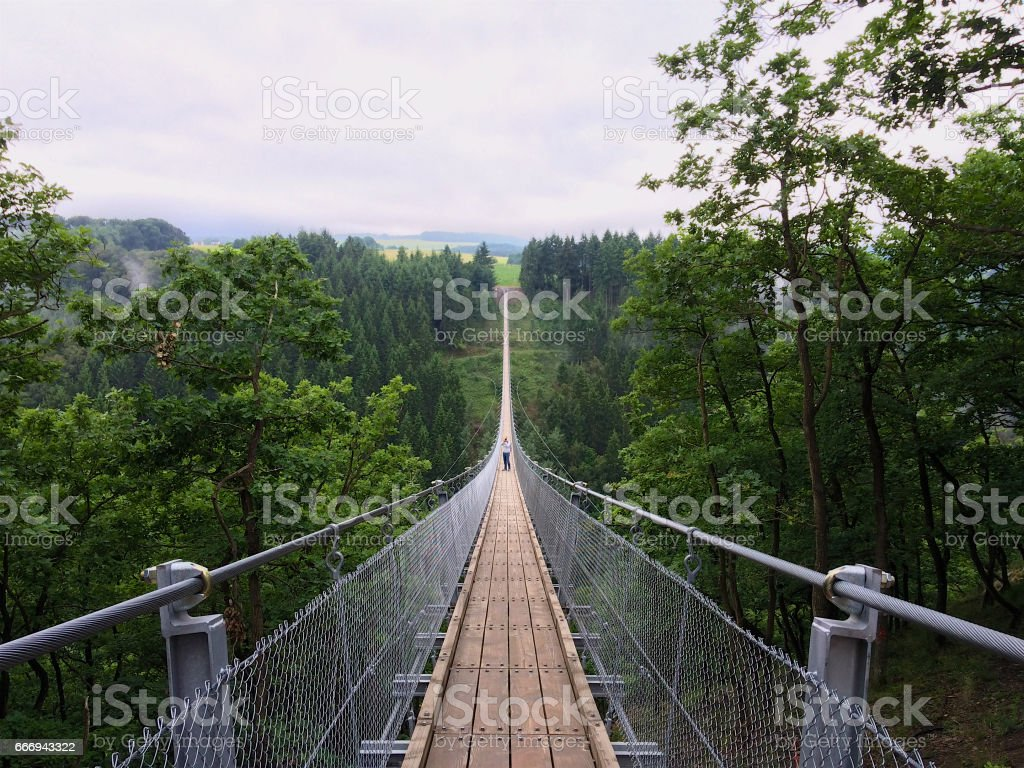 Geierlay suspension bridge stock photo